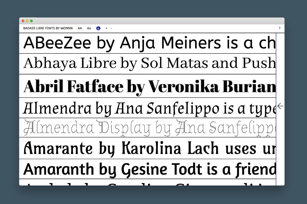 Badass Libre Fonts By Womxn – Une collection de polices